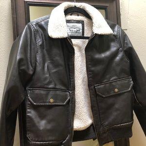 Levi's Women's Faux Leather Sherpa Bomber Jacket
